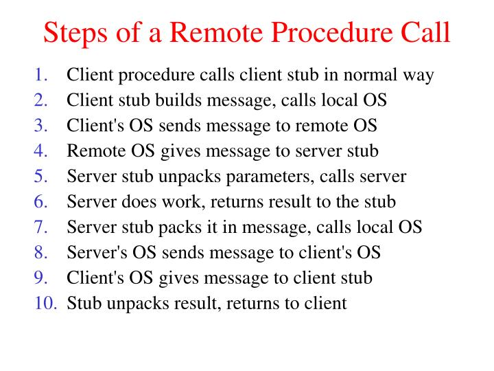 Steps of a Remote Procedure Call