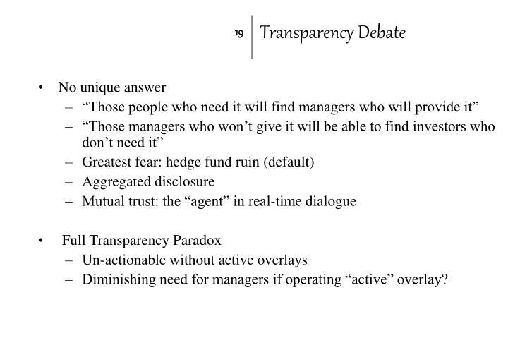 Transparency Debate