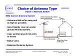 choice of antenna type dipole balanced system