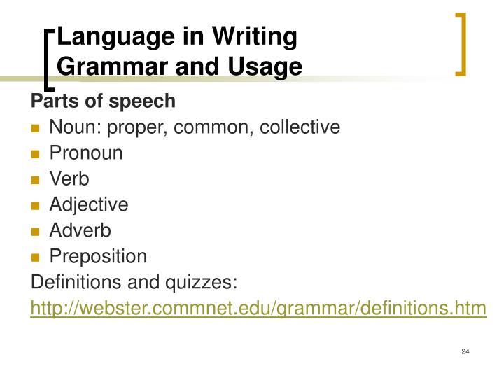 Language in Writing
