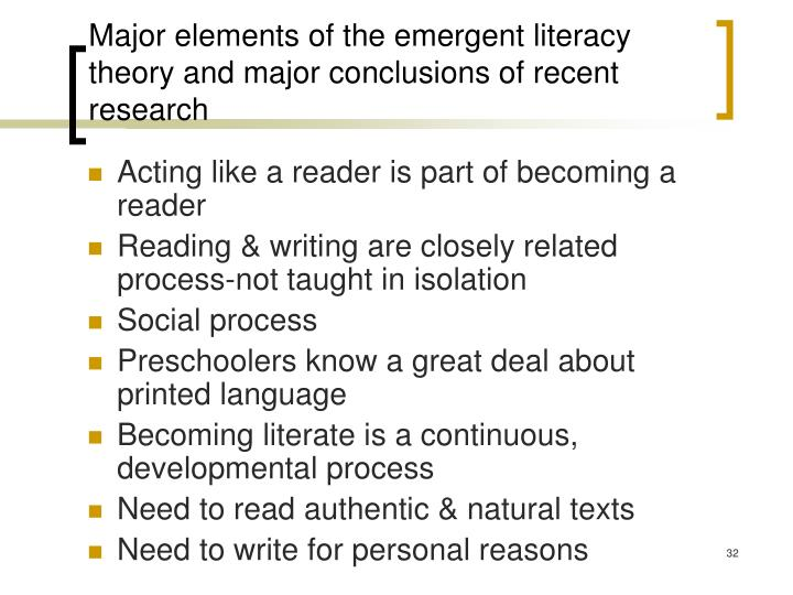 Major elements of the emergent literacy theory and major conclusions of recent research