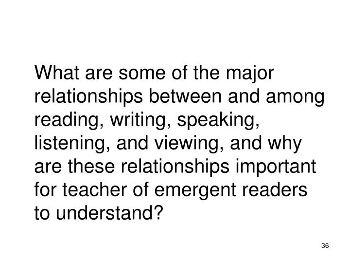 What are some of the major relationships between and among reading, writing, speaking, listening, and viewing, and why are these relationships important for teacher of emergent readers to understand?