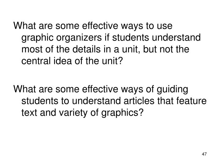 What are some effective ways to use graphic organizers if students understand most of the details in a unit, but not the central idea of the unit?