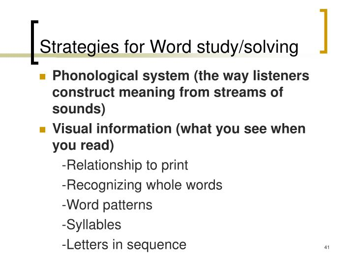 Strategies for Word study/solving