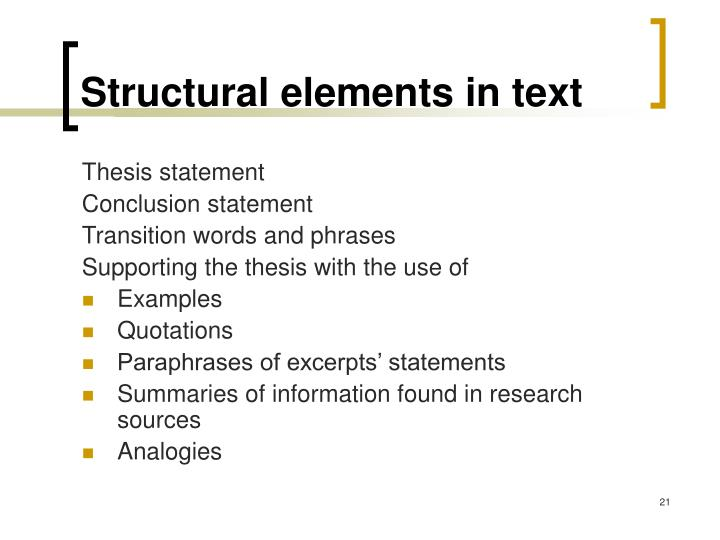 Structural elements in text