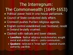 the interregnum the commonwealth 1649 1653