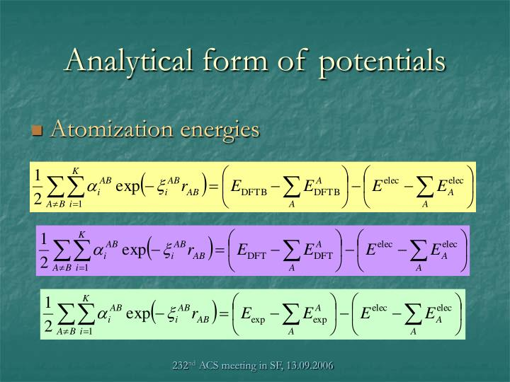 Analytical form of potentials