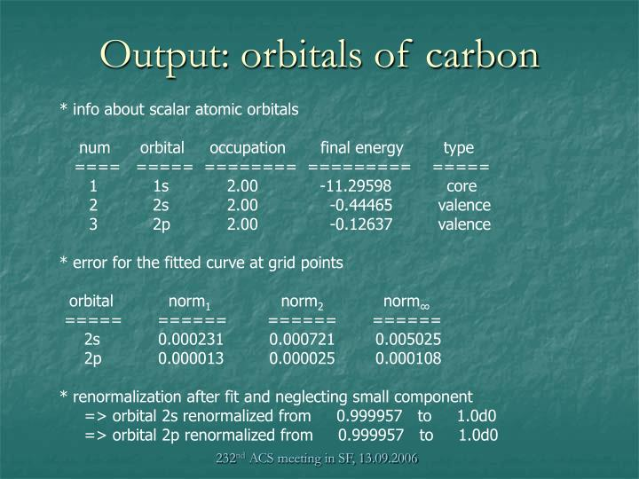 Output: orbitals of carbon