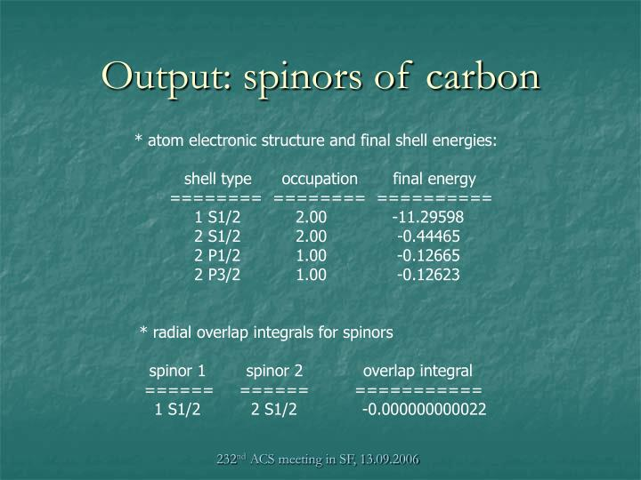 Output: spinors of carbon
