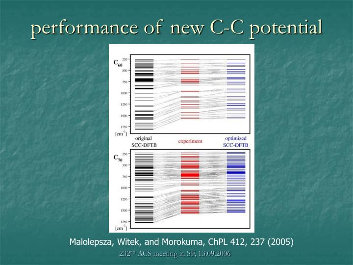 performance of new C-C potential
