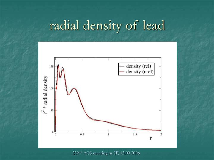 radial density of lead