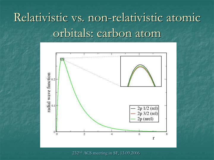 Relativistic vs. non-relativistic atomic orbitals: carbon atom