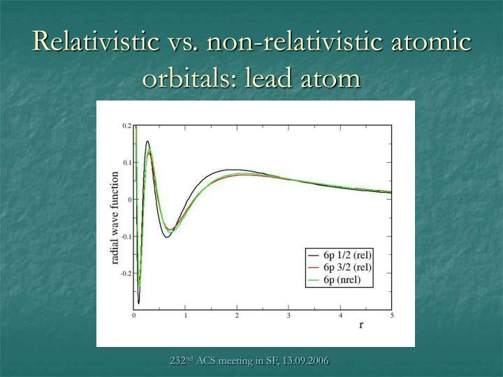 Relativistic vs. non-relativistic atomic orbitals: lead atom
