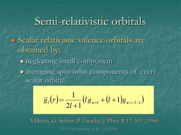 Semi-relativistic orbitals