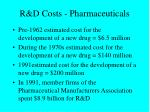 r d costs pharmaceuticals