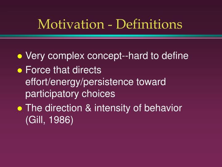 Motivation - Definitions