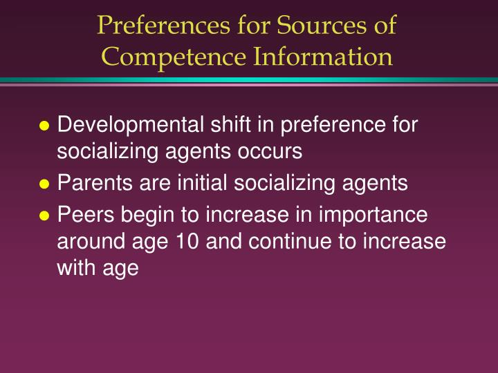 Preferences for Sources of Competence Information