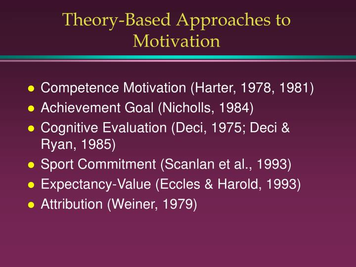 Theory-Based Approaches to Motivation