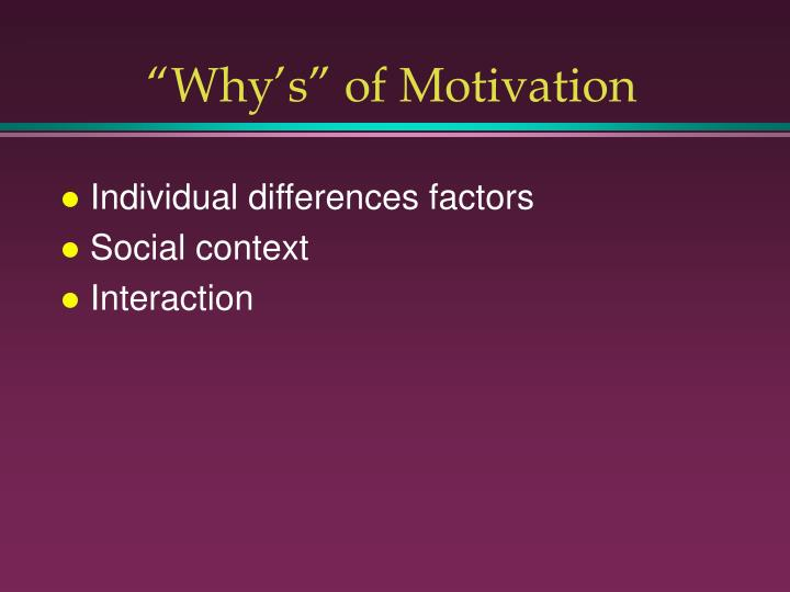 """""""Why's"""" of Motivation"""
