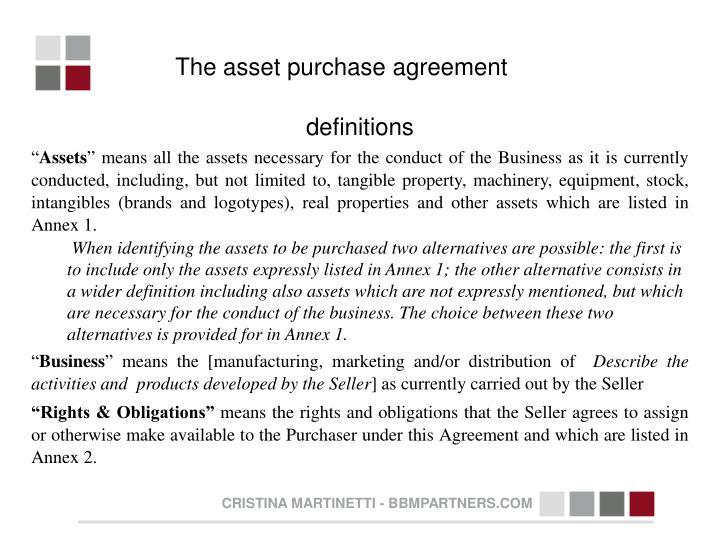 The asset purchase agreement