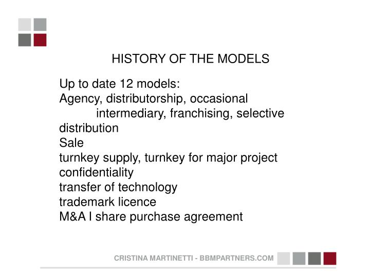 HISTORY OF THE MODELS