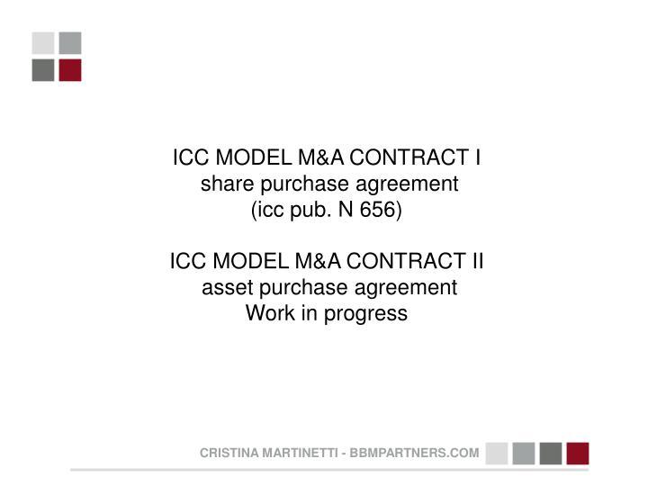 ICC MODEL M&A CONTRACT I
