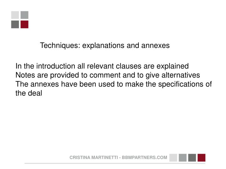 Techniques: explanations and annexes