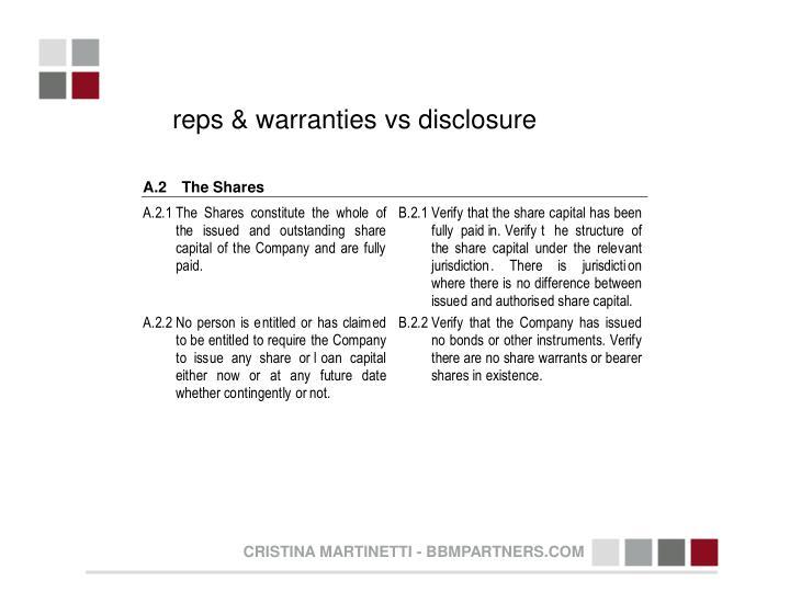 reps & warranties vs disclosure