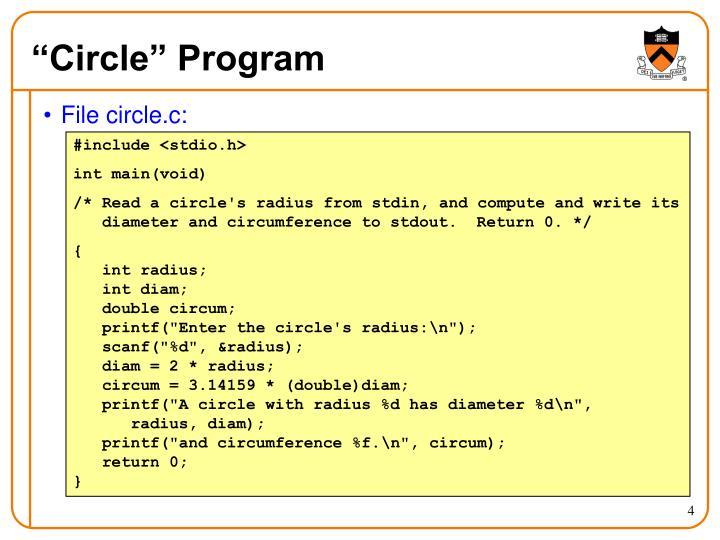 """Circle"" Program"