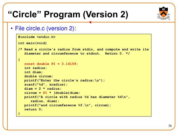 """""""Circle"""" Program (Version 2)"""