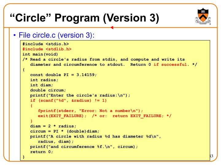 """""""Circle"""" Program (Version 3)"""