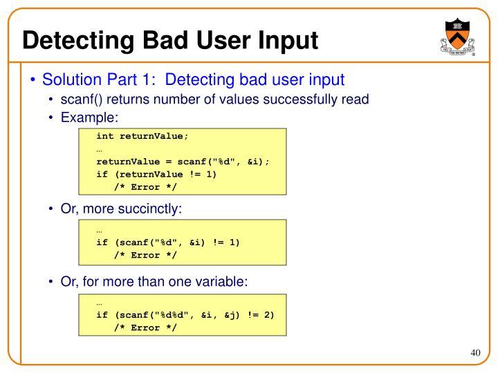 Detecting Bad User Input