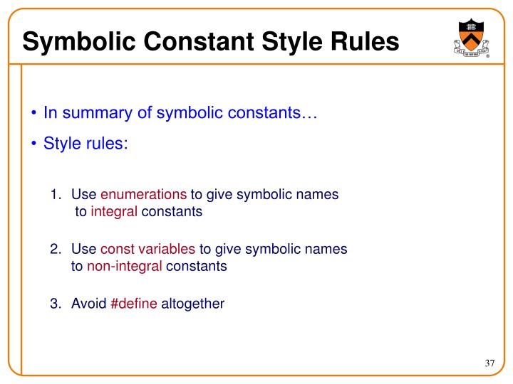 Symbolic Constant Style Rules