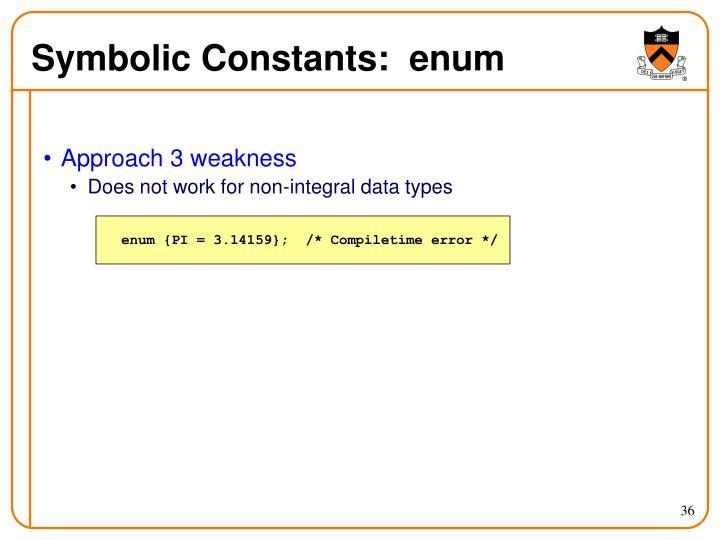 Symbolic Constants:  enum