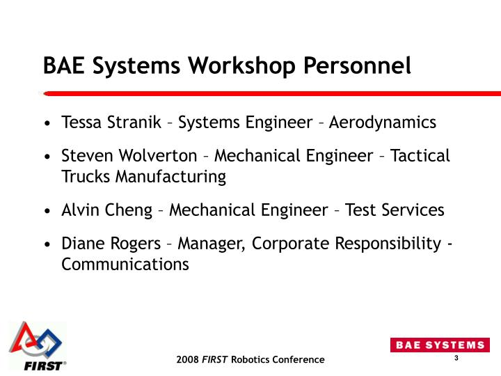 BAE Systems Workshop Personnel