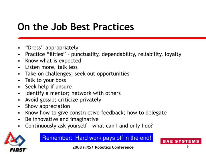 On the Job Best Practices