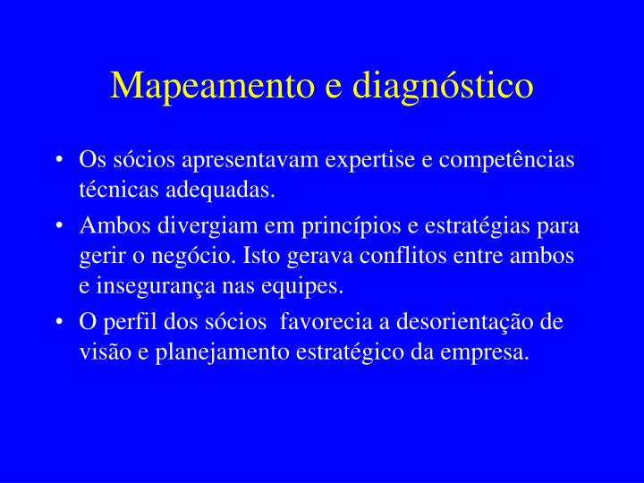 Mapeamento e diagnóstico