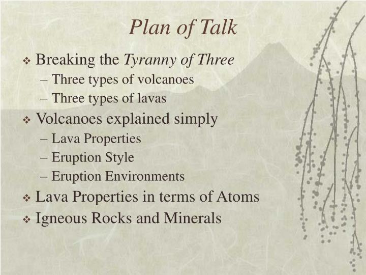 Plan of Talk
