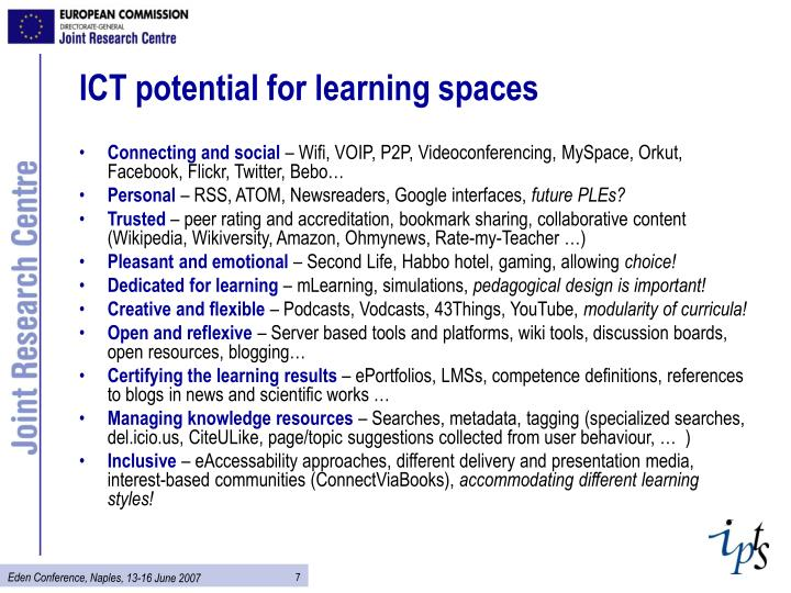 ICT potential for learning spaces