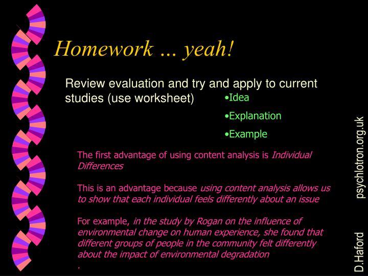 Homework … yeah!
