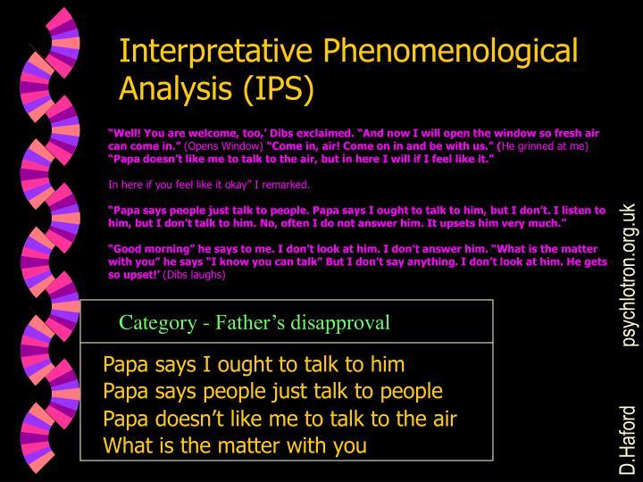 Interpretative Phenomenological Analysis (IPS)