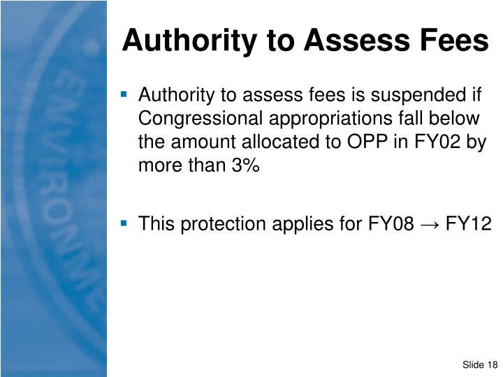 Authority to Assess Fees