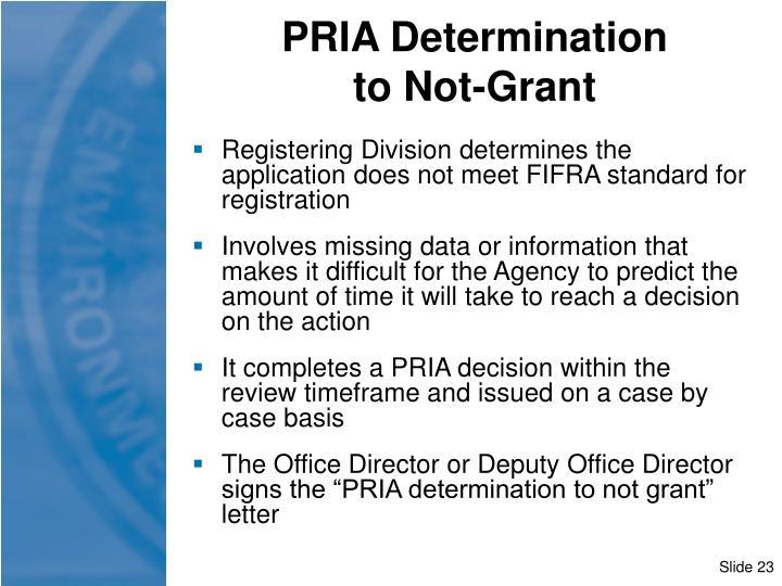 PRIA Determination