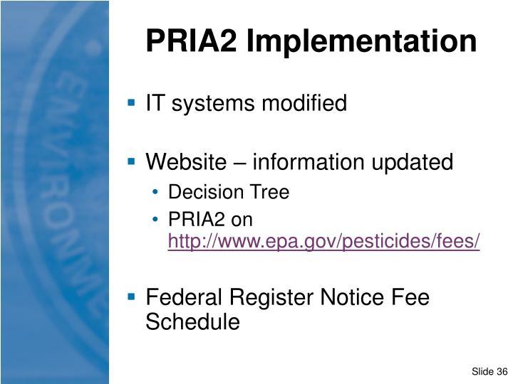 PRIA2 Implementation