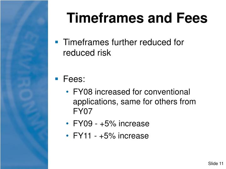 Timeframes and Fees
