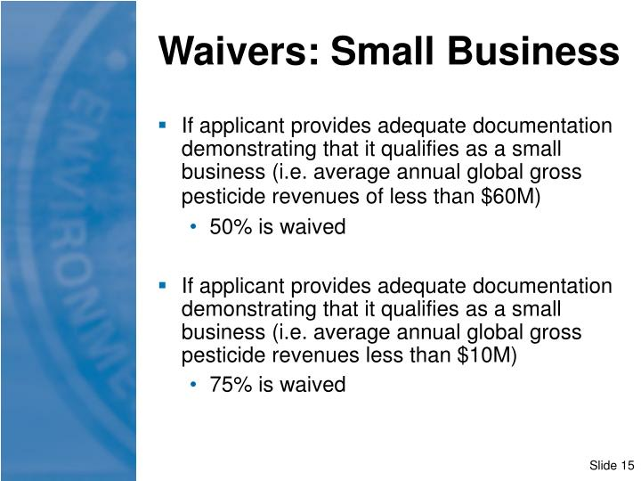 Waivers: Small Business