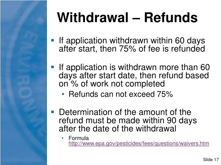 Withdrawal – Refunds
