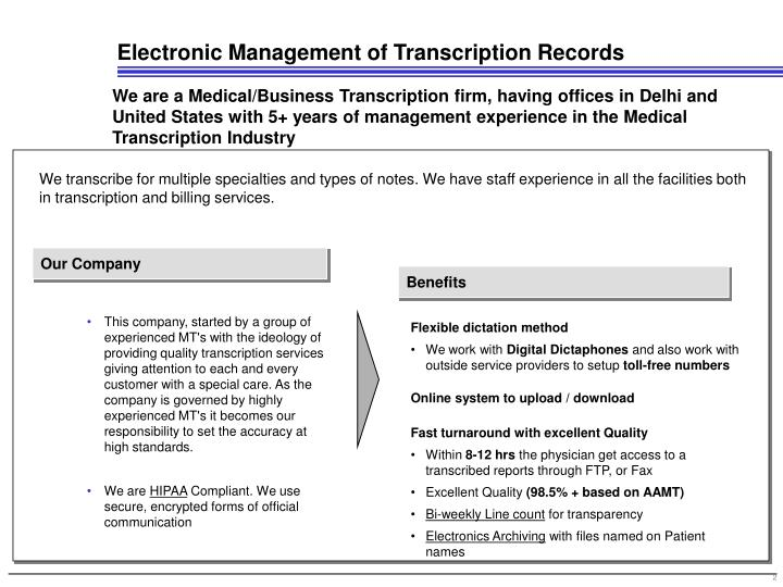 Electronic management of transcription records