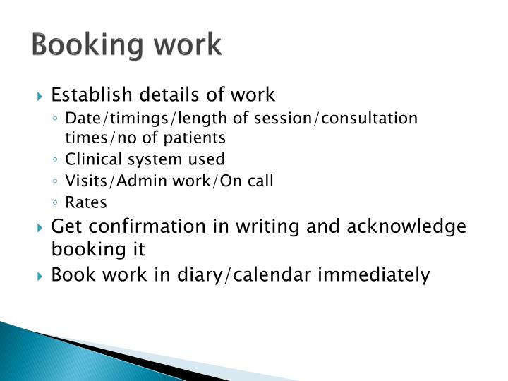 Booking work