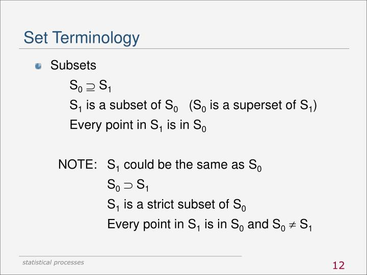 Set Terminology